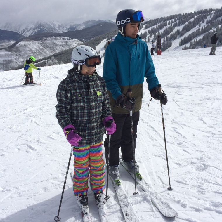 Zak and Naya on Top of Avanti Express in Vail, CO